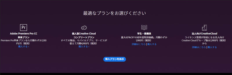 Adobe Premiere Pro購入プラン