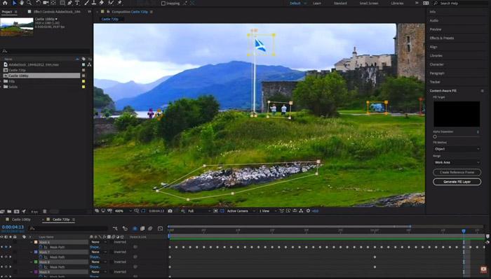 キーフレームで不透明度を調整できる動画編集ソフト adobe after effects