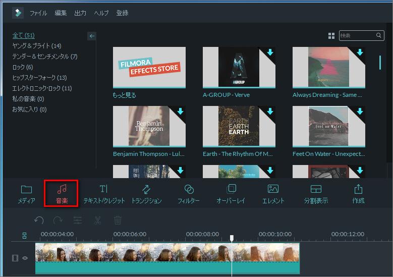BGMをメイクアップ動画に挿入する