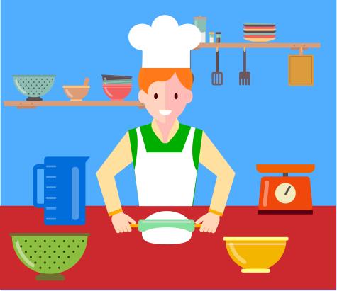 楽しく料理を作る人